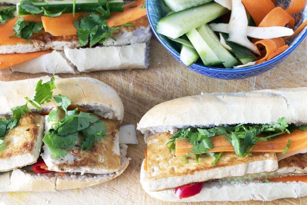 overhead shot of tofu banh mi