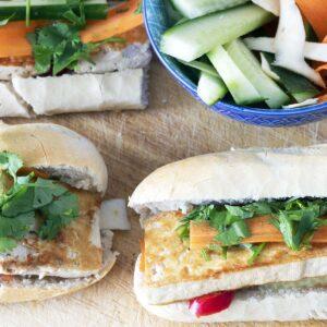 overhead shot of vegan tofu banh mi