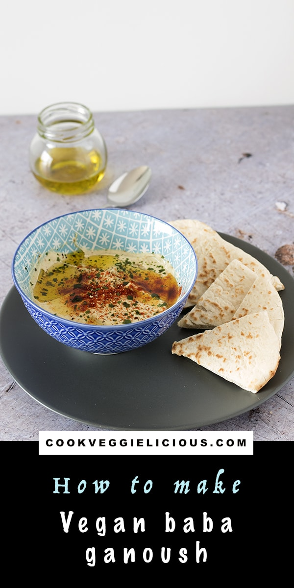 vegan baba ganoush recipe in blue bowl with pitta bread