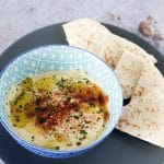 baba ganoush (aubergine dip) with pitta bread