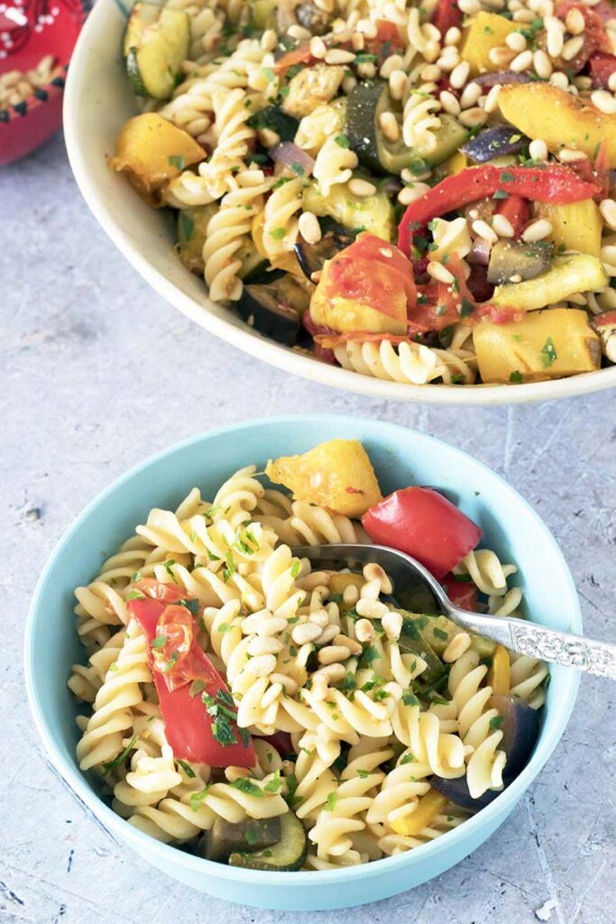 roasted vegetables and pasta in bowls