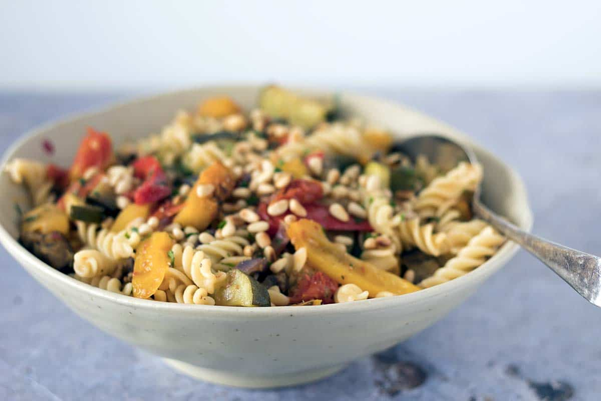 roasted veggies with pasta and pine nuts