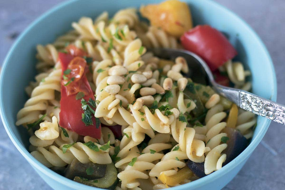 pasta with roasted veggies