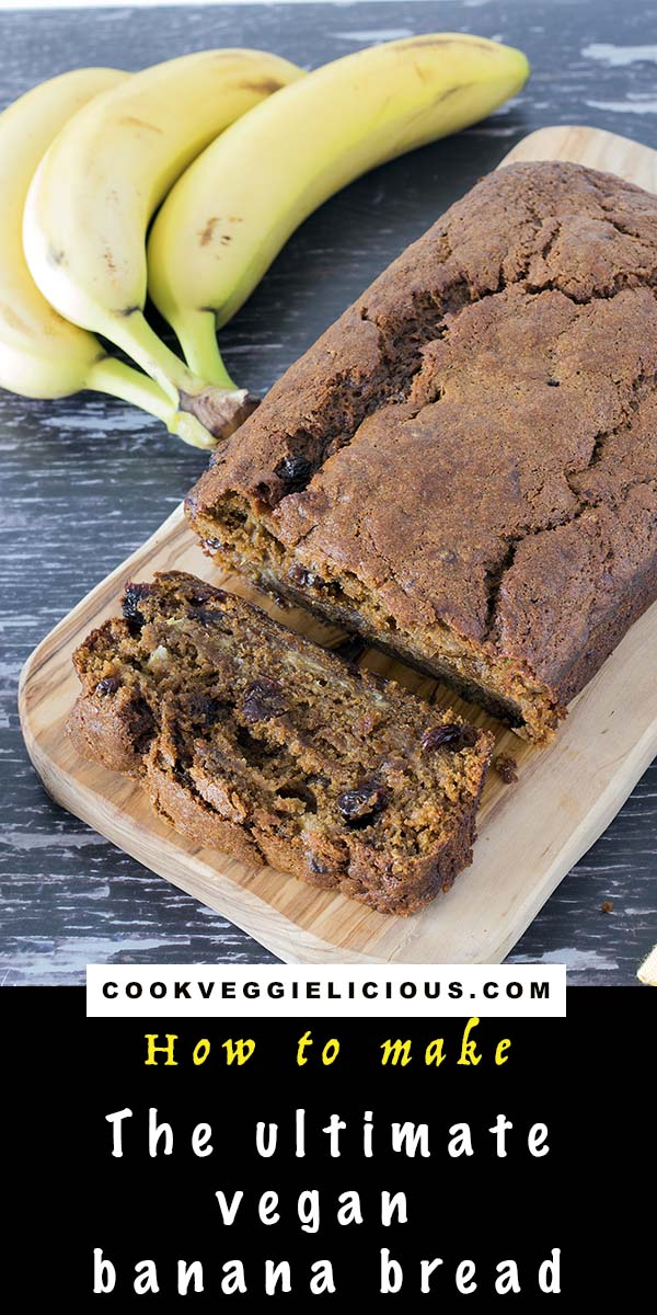 Sliced vegan banana bread on board with bananas in background