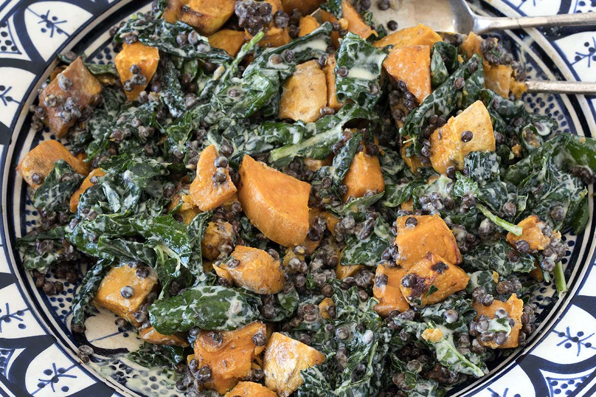 kale and sweet potato salad with tahini dressing