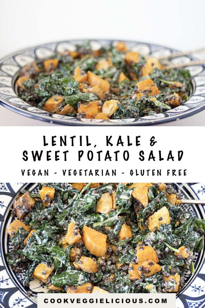 lentil, kale and sweet potato salad with tahini dressing