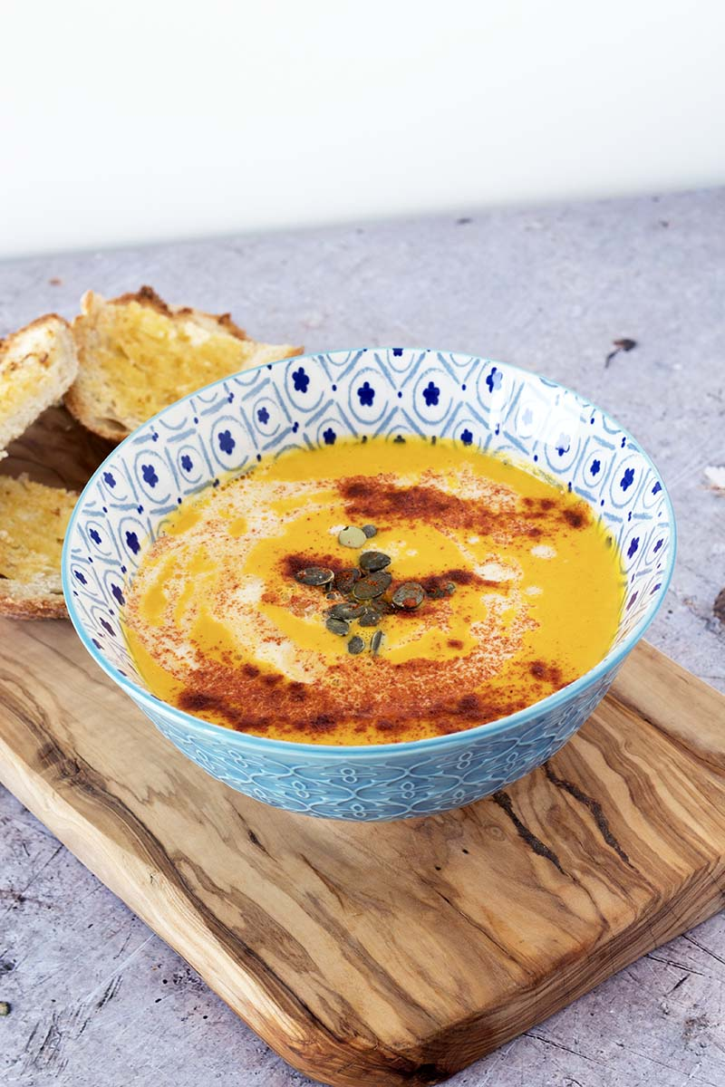 spiced carrot soup and bread
