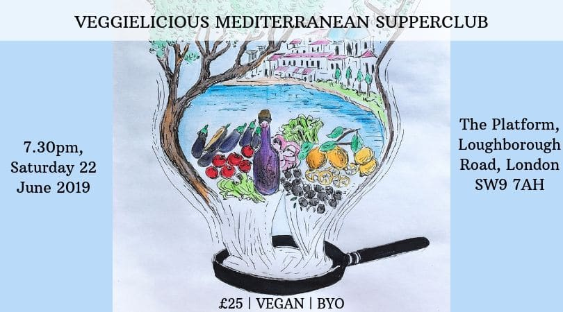 image of mediterranean food items to advertise the veggielicious vegan supperclub