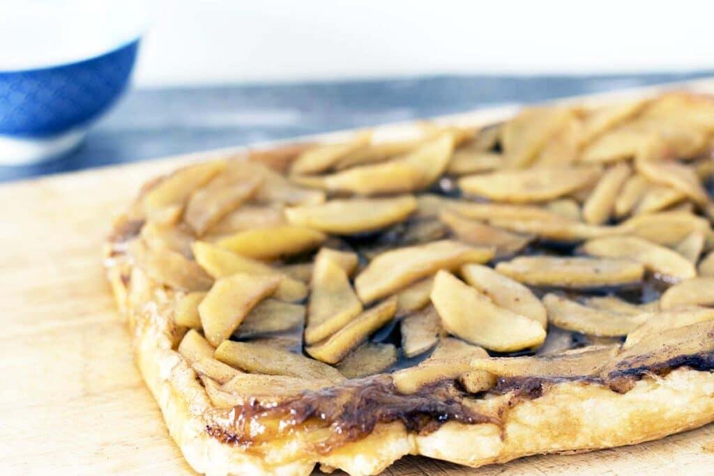 apple tart on wooden board