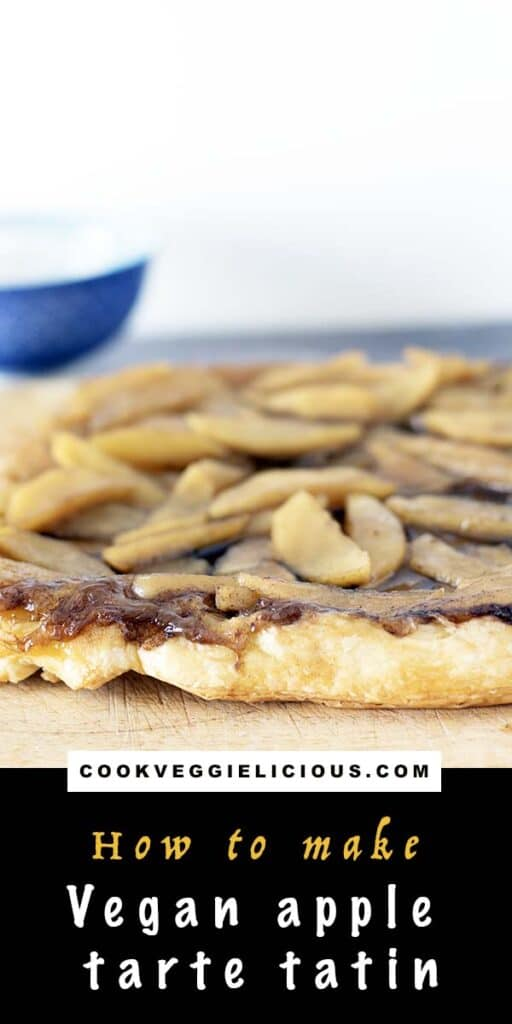 a puff pastry apple tarte on a wooden board