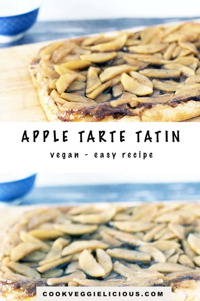 apple tart tatin on wooden board