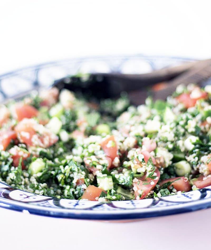 quinoa tabbouleh in moroccan bowl