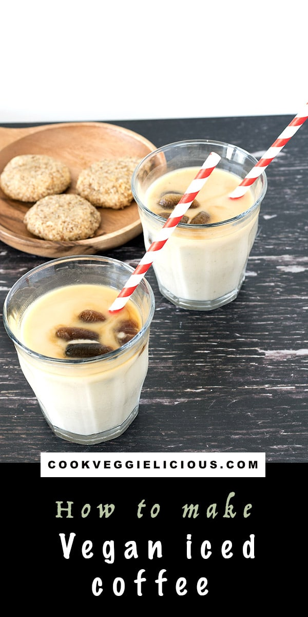 vegan iced coffee in glasses with cookies