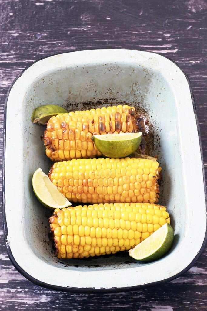 roasted corn on the cob with lime