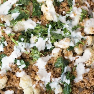cauliflower bulgur pilaf with tahini and parsley