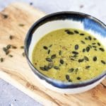 curried brussels sprouts soup with pumpkin seeds