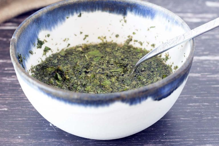 how to make homemade mint sauce - mint sauce in bowl
