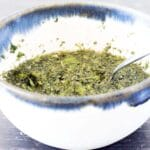 mint sauce in blue and white bowl