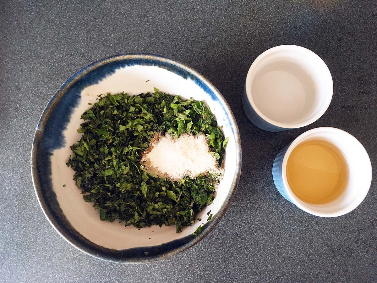 mint, sugar, vinegar and water - how to make homemade mint sauce