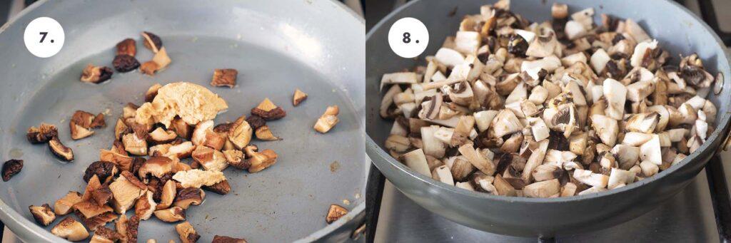 mushrooms cooking in pan