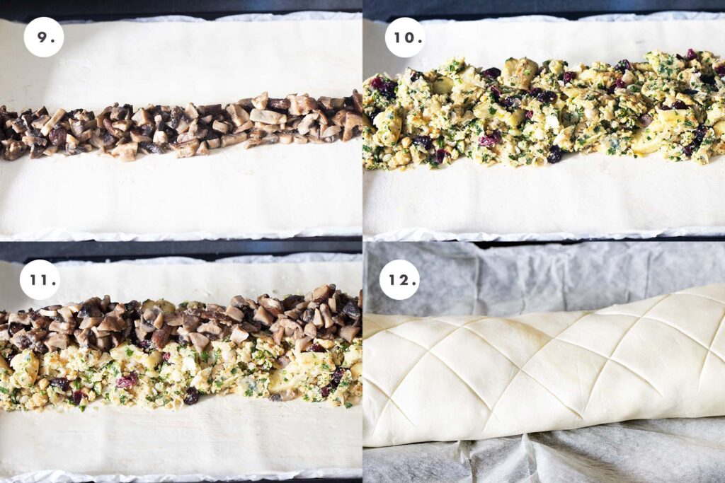 stages of rolling mushroom and parsnip wellington