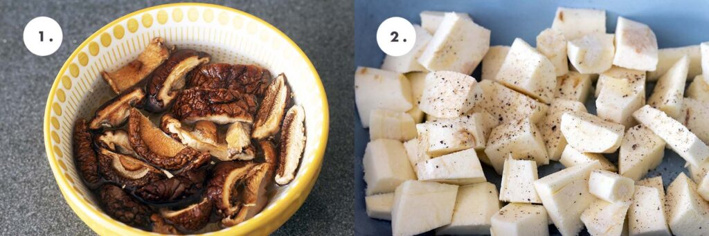 dried mushrooms in yellow bowl, parsnips in blue roasting dish