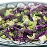 Brussels sprouts and red cabbage salad in bowl