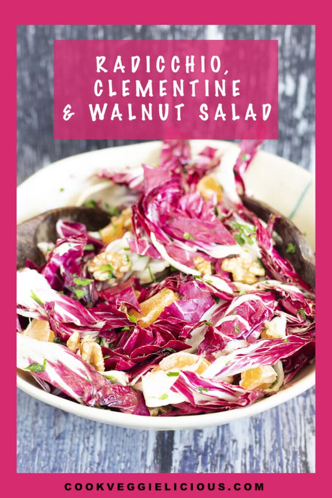 radicchio and clementine salad in bowl