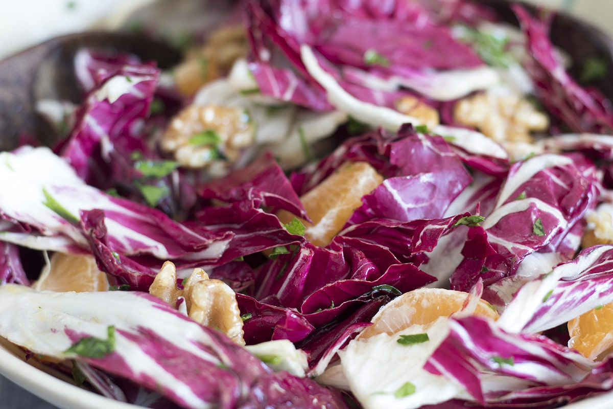 close up of radicchio salad