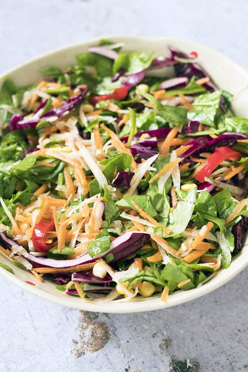 rainbow vegetables in salad bowl