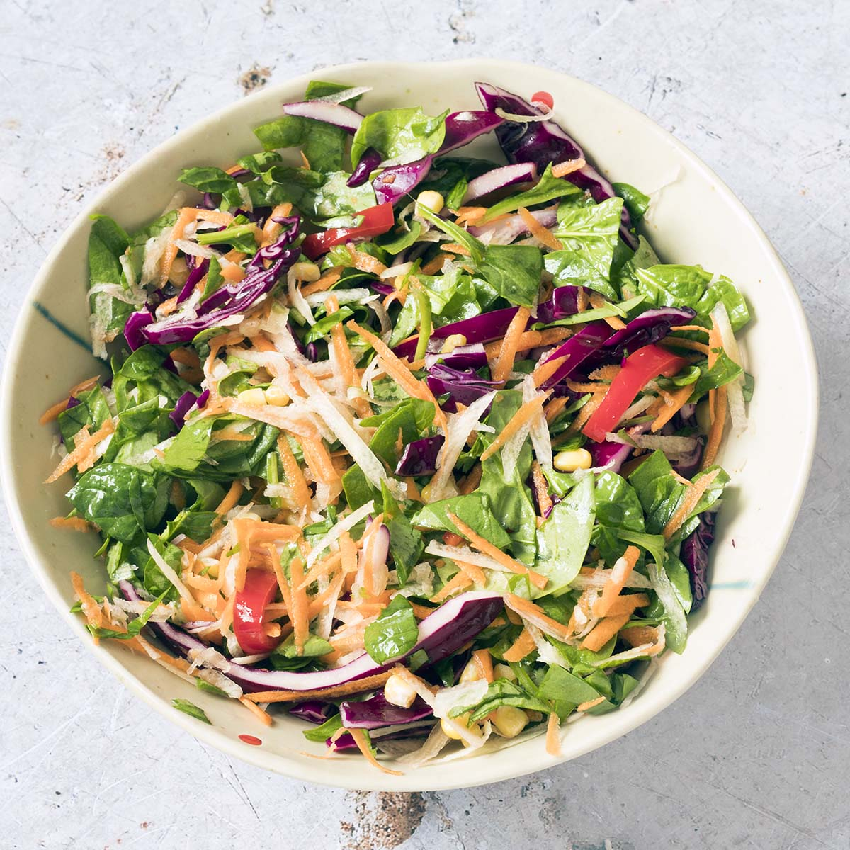 overhead shot of rainbow salad bowl