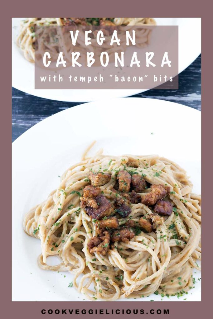 vegan carbonara on white plates