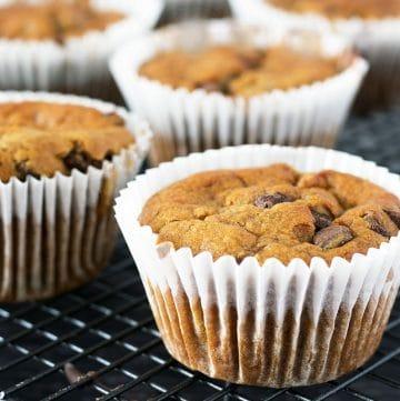 Vegan chocolate chip banana muffins on cooling rack
