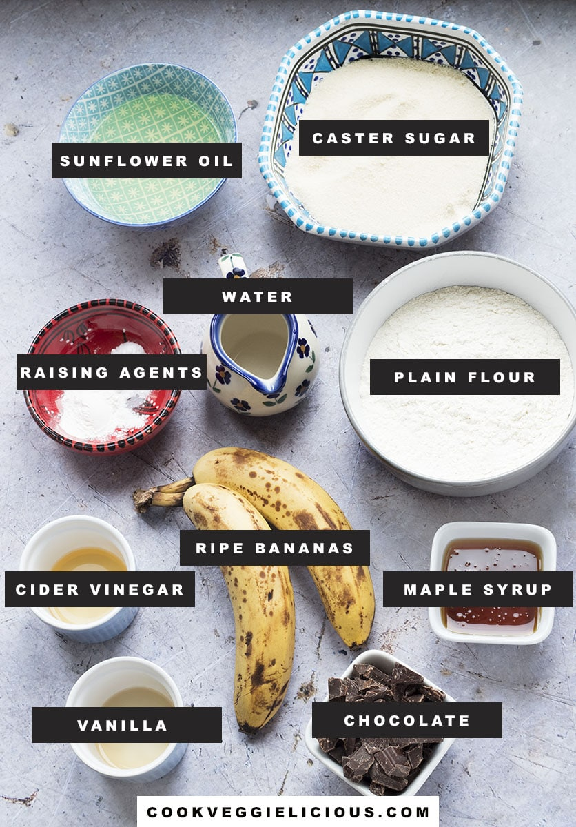 ingredients for vegan banana chocolate chip muffins