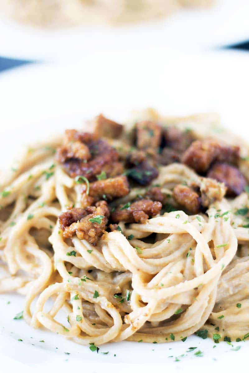 vegan carbonara made from swede with tempeh bacons