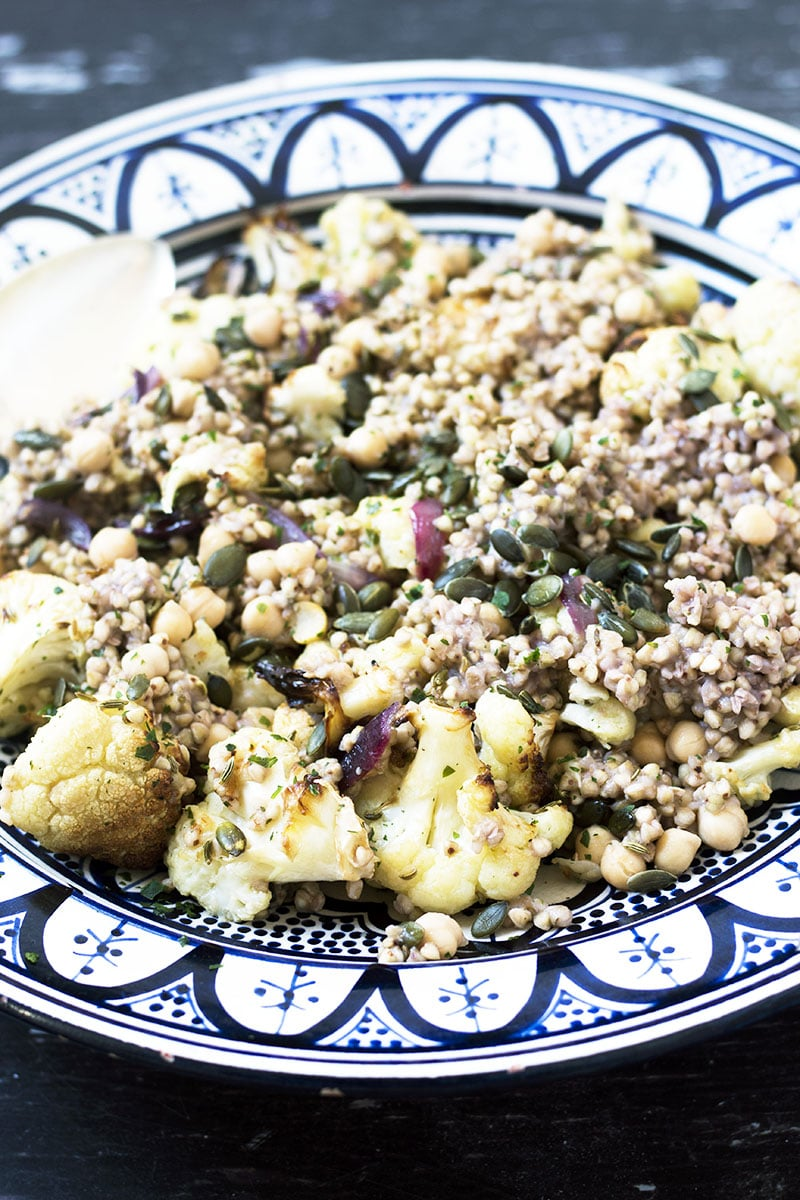 buckwheat, chickpea and cauliflower salad in bowl