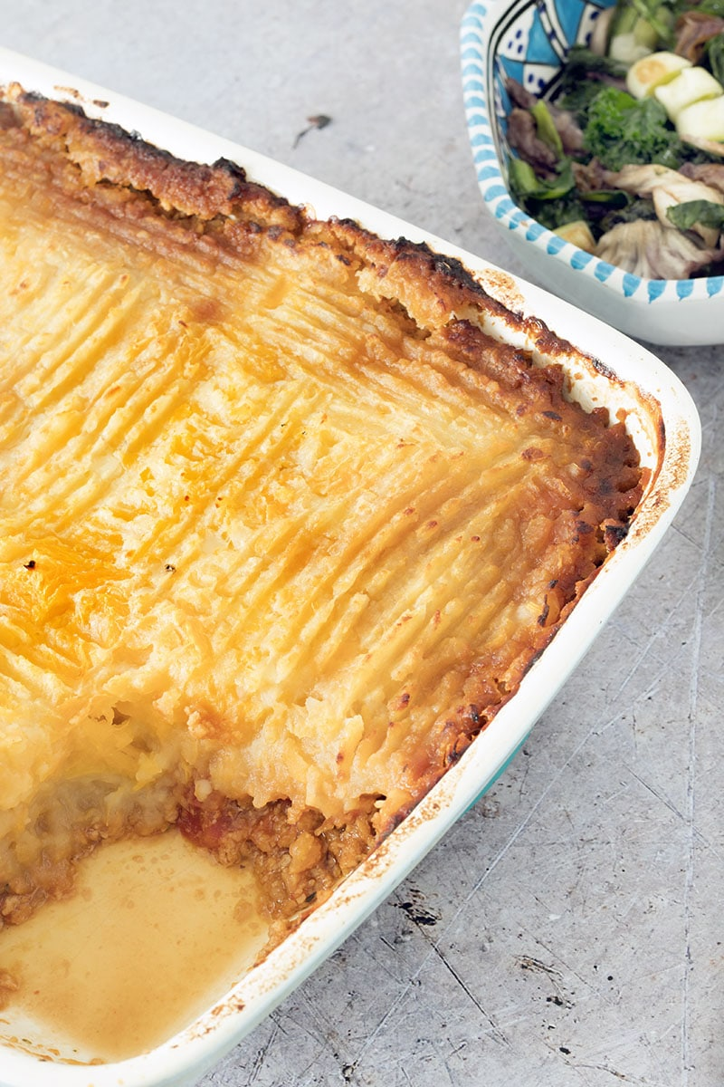 vegan shepherds pie in roasting dish