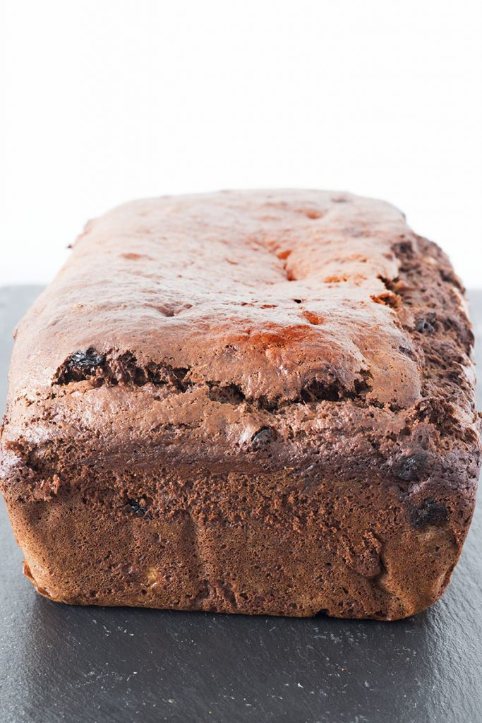 vegan chickpea flour banana bread on slate plate