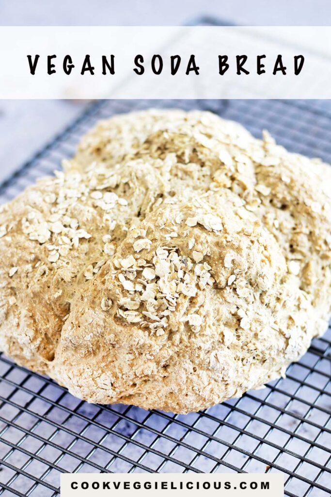 Vegan soda bread on cooling rack