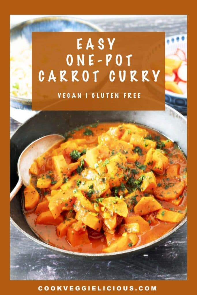 carrot curry in black dish
