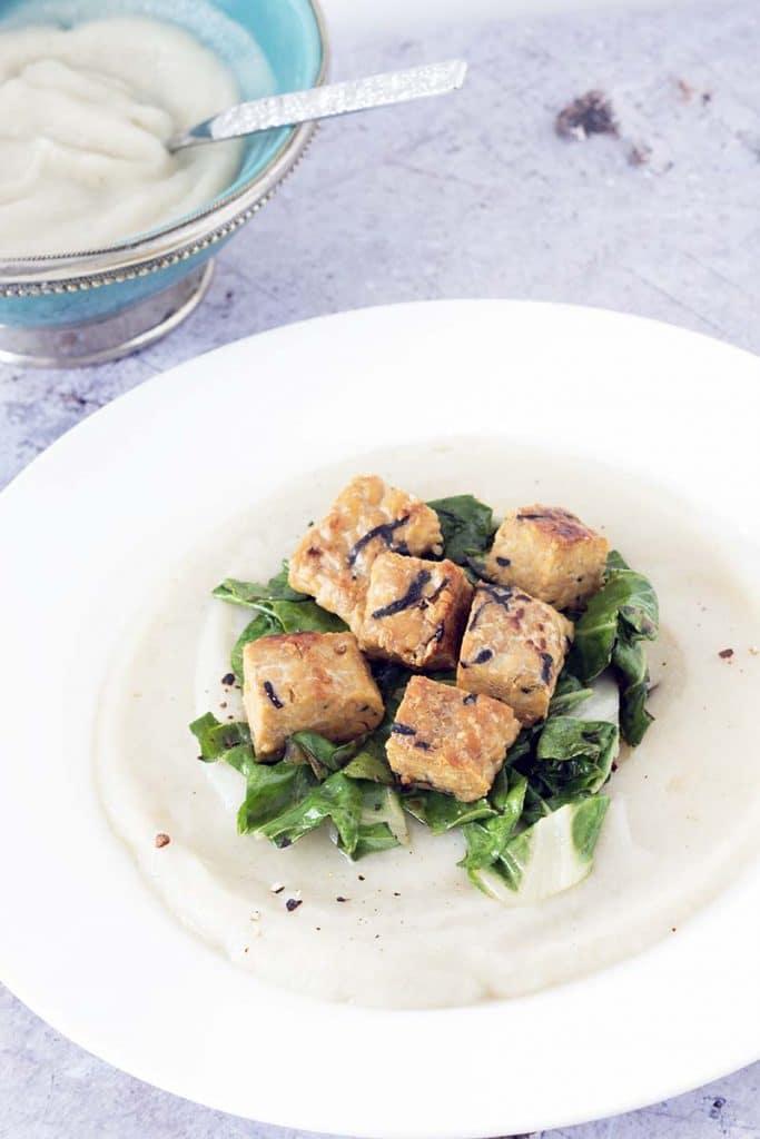 jerusalem artichoke puree with tempeh and chard