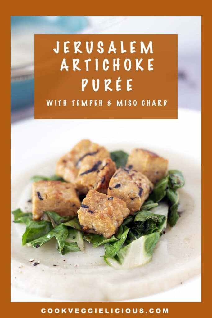Jerusalem artichoke puree with tempeh and chard on white plate