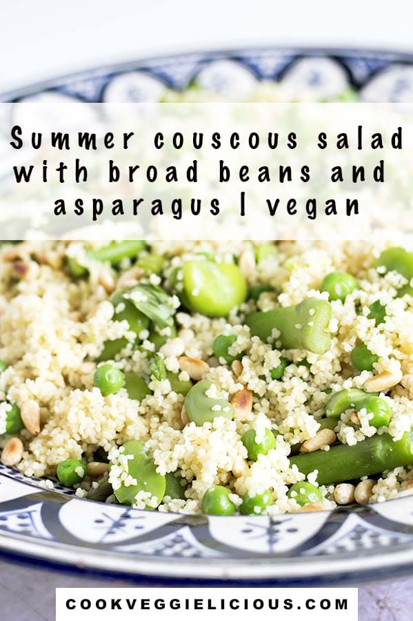couscous, broad bean, asparagus salad in moroccan blue and white bowl