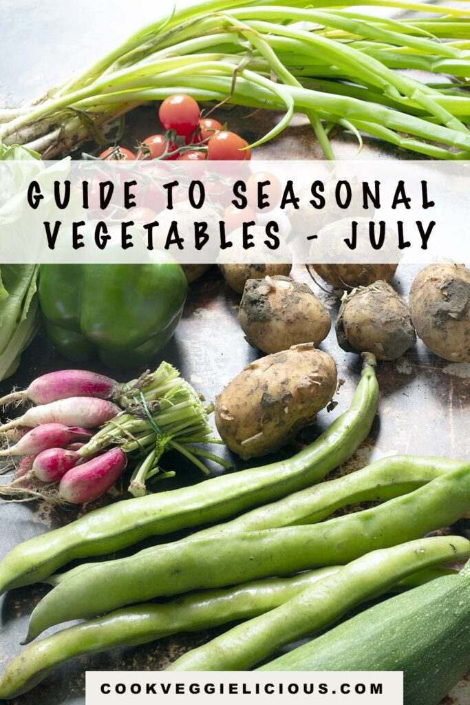 July vegetables including broad beans, courgette, radish, pepper, tomatoes, new potatoes and spring onions