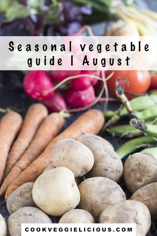 potatoes, lettuce, carrots, broad beans, radishes, onions and tomatoes - august seasonal vegetables