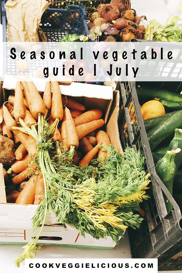 carrots, courgettes, tomatoes, peppers, beetroot and other seasonal vegetables July in boxes