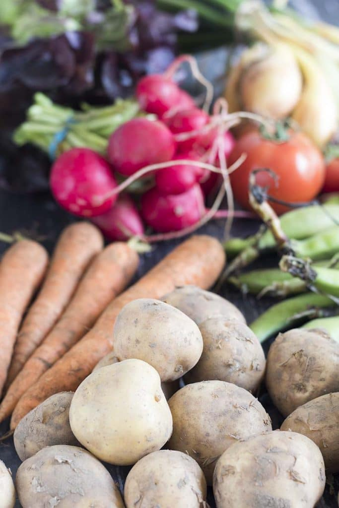 potatoes, carrots, broad beans, radishes, onions and tomatoes - august seasonal vegetables