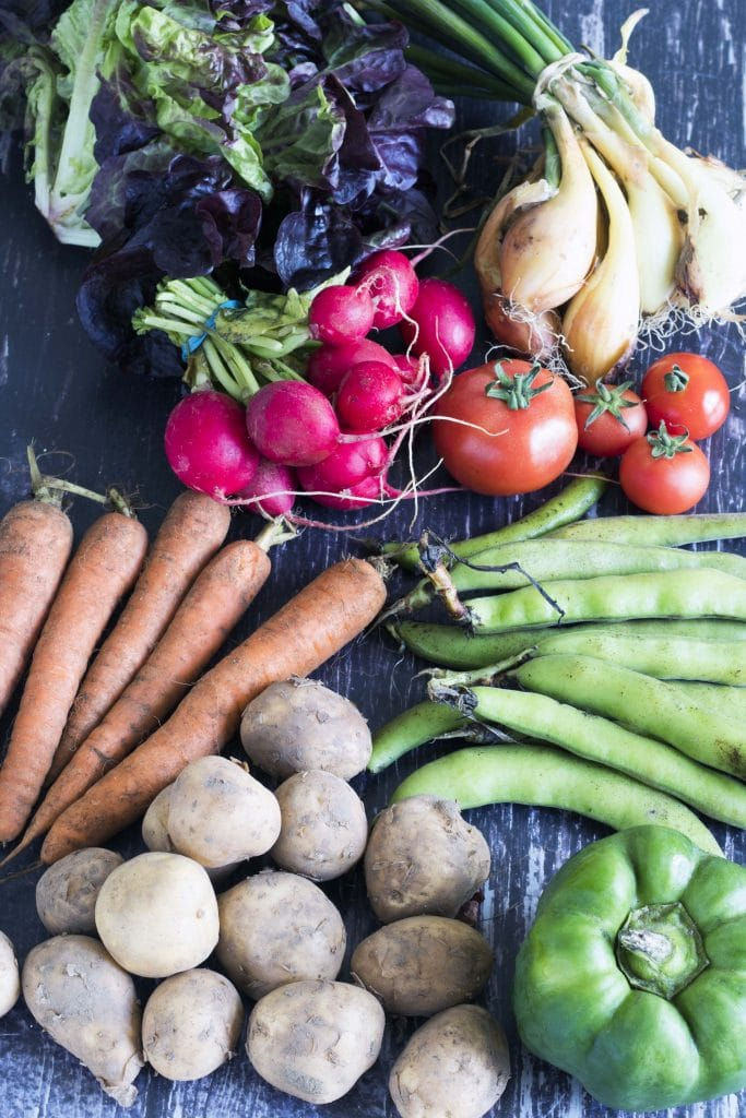 potatoes, carrots, lettuce, broad beans, radishes, onions and tomatoes - august seasonal vegetables