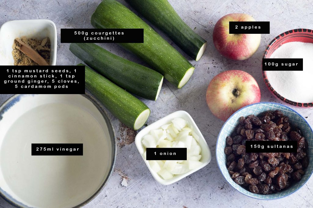 ingredients for courgette chutney