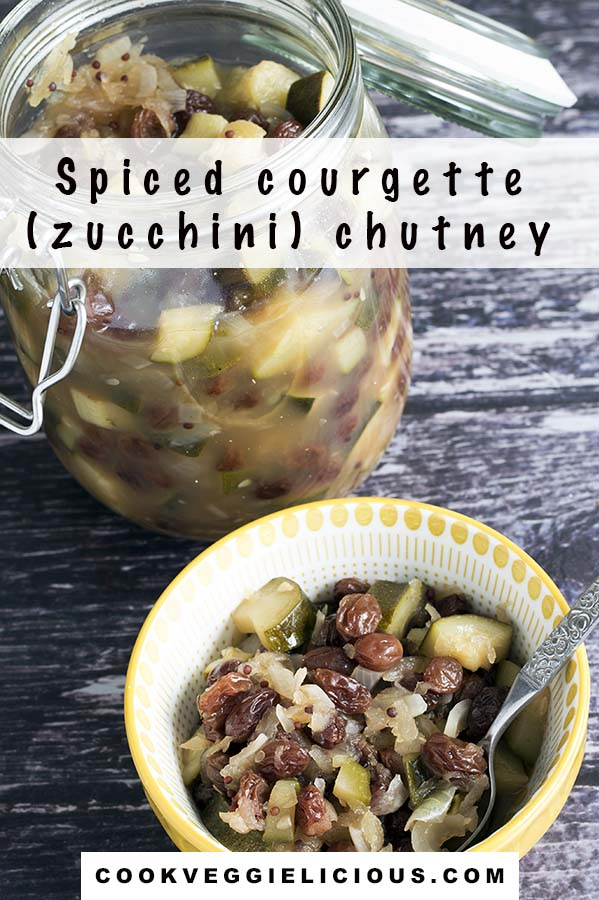 courgette chutney in jar and bowl on wooden backdrop